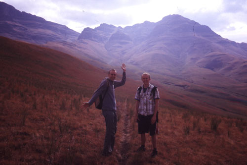 Me (left) in the Drakensburg, South Africa<br>Photo © E. Lloyd, 2004